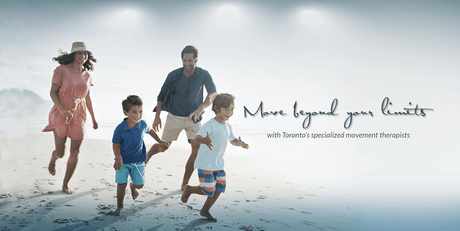 Family running on the sand