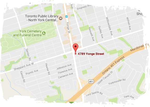 Map of  4789 Yonge St, Suite 1205, North York, ON M2N 5M5 Toronto